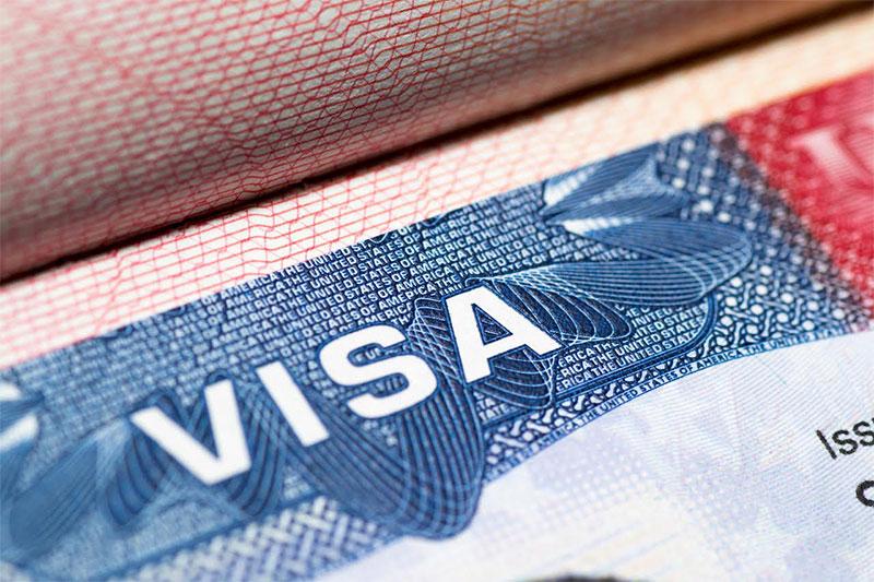 close-up of u.s. visa
