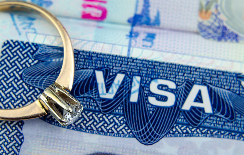 engagement ring rests on top of us entry visa sticker