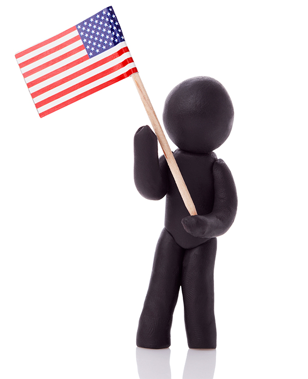 stick figure silhouette holding american flag