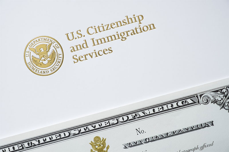 uscis letterhead with certificate of naturalization